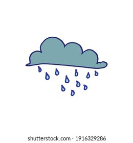cloudy with rain vector illustration on white background. cold day. rainy day, weather icon. hand drawn vector. doodle art for kids, logo, clipart, sticker, cover, poster, banner.