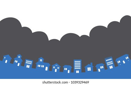 Cloudy skie and Townscape
