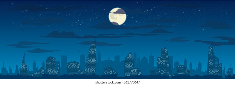 Cloudy sky, full moon and night city silhouette, vector cityscape illustration