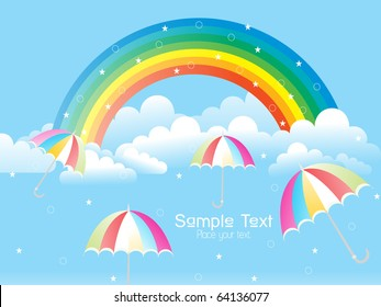 cloudy sky with rainbow and colorful umbrellas