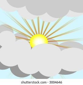 cloudy sky with sun bursting through