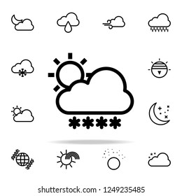 cloudy sun snow sign icon. weather icons universal set for web and mobile