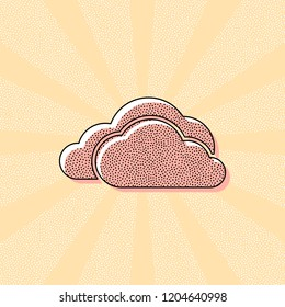 cloudy weather icon. Vintage retro typography with offset printing effect. Dots poster with comics pop art background