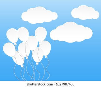 clound and balloon vector background