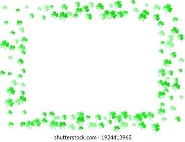Clover background for Saint Patricks Day.  Lucky trefoil confetti. Glitter frame of shamrock leaves. Template for voucher, special business ad, banner. Dublin clover background.