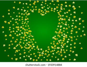 Clover background for Saint Patricks Day.  Lucky trefoil confetti. Glitter frame of shamrock leaves. Template for special business offer, banner, flyer. Decorative clover background.