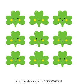 Clover, emoticons or emoji. Characters for St. Patricks day. Vector