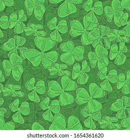 Clover field seamless pattern. Green leaf clover seamless vector background