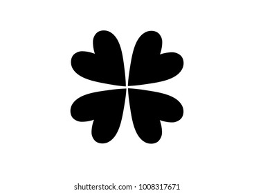 clover flat icon on white background .  Four leaf clover isolated on white, vector illustration for St. Patrick's day