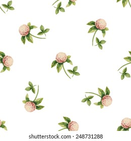 Clover flowers, watercolor vector seamless pattern.