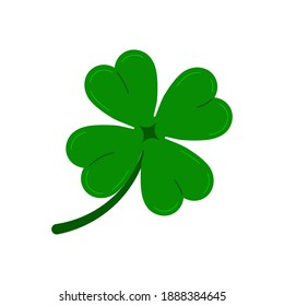 Clover four leaf icon isolated on white background. Green good luck shamrock clover plant. Flat design cartoon style vector illustration. Traditional Irish symbol for St. Patrick's day.