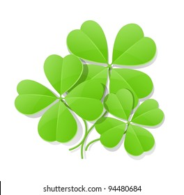 clover four leaf for saint patrick's day vector illustration isolated on white background EPS10. Transparent objects used for shadows and lights drawing