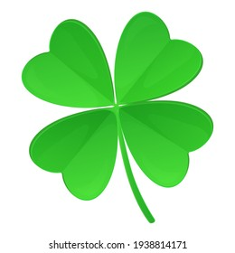 Clover with four leaves isolated on white background. St. Patrick s Day, lucky Concept. Stock vector illustration in realistic cartoon style