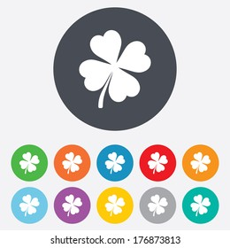 Clover with four leaves sign icon. Saint Patrick symbol. Round colourful 11 buttons. Vector