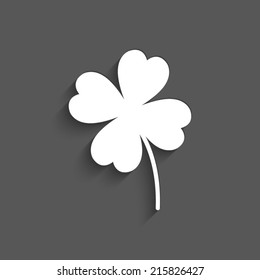Clover with four leaves -  vector Icon with shadow on a grey background
