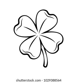 Clover four-leaf contour. St. Patrick s day. Silhouette. Vector illustration isolated on white background