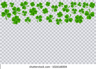 Clover frame template isolated in transparent background. Saint patrick's day background template.