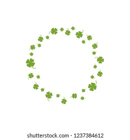 Clover garland on white background. St Patrick day greeting card with shamrock wreath. Irish. Vector flat illustration. Good for text and cards