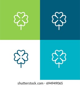 Clover green and blue material color minimal icon or logo design
