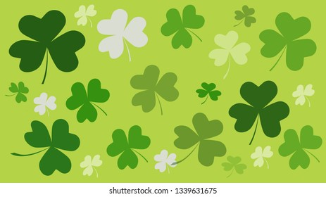 Clover green heart shaped leaves background
