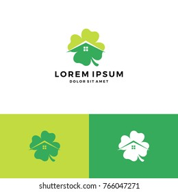 clover house home leaf four logo vector download