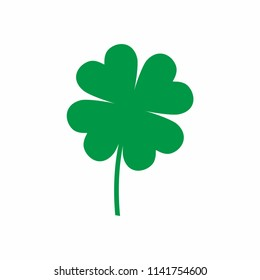 Clover icon Green shamrock. Irish symbol of luck. Vector