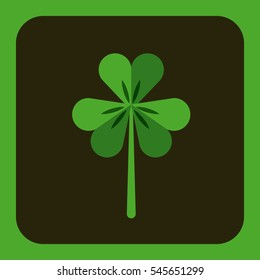 clover icon over gray and green background. Saint Patricks Day concept. colorful design. vector illustration