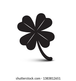 Clover Icon. Vector Four Leaves Plant. Luck Symbol Isolated on White Background.