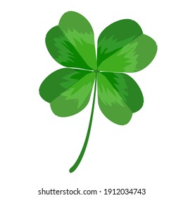 Clover isolated on white background. Clover leaf with four petals. Green shamrock for St. Patrick's Day. Symbol of Irish Holiday and good luck. Emblem of Irish beer festival. Stock vector illustration