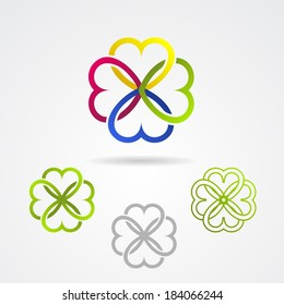 Clover leaf ECO vector icon set