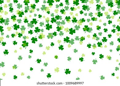 Clover leaf flat design green backdrop background pattern vector illustration