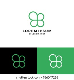 clover leaf four logo vector download monoline