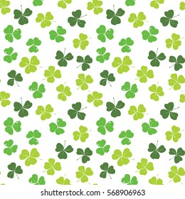 Clover leaf hand drawn doodle seamless pattern vector illustration. St Patrick's Day symbol, Irish lucky shamrock background.