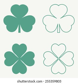 Clover leaf icons. Vector illustration, EPS 8.