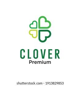 Clover leaf with line art logo vector icon illustration Vector