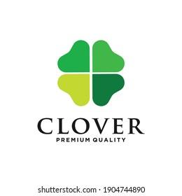 Clover leaf with love line art logo vector icon illustration Vector