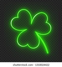 A clover leaf on a dark background with a neon light effect for a festive decoration for St. Patrick's Day. Vector illustration with the symbol of the Irish holiday
