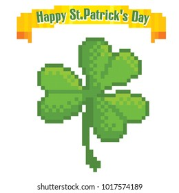 clover leaf. St.Patrick 's Day greteeng card. Pixel art. Old school computer graphic style. Games elements.