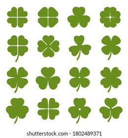 Clover leaves with four and three petals green icons set. Shamrock plant, grass. Saint Patrick day, Ireland symbol. Botanical, floral decoration elements. Vector collection isolated on white.