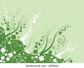 clover leaves on abstract green background, st patricks day background