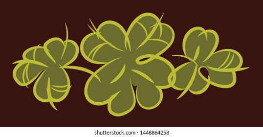 Clover leaves, vector drawing, doodle