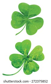 Clover leaves. Watercolor vector illustration.