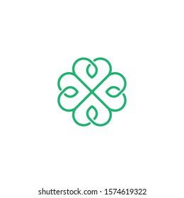 Clover made of hearts, vector symbol design