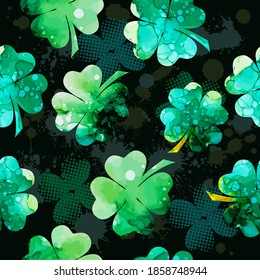 Clover multicolored. Happy St. Patrick's Day. Seamless background. Vector illustration