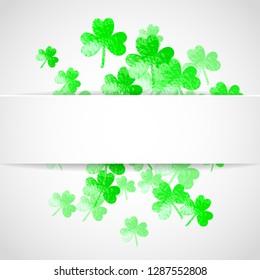 Clover paper frame with shamrock. Lucky trefoil confetti. Glitter frame of shamrock leaves. Template for party invite, retail offer and ad. Dublin clover paper frame backdrop.