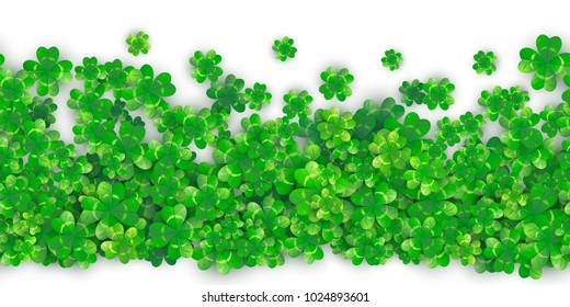 Clover seamless background with four leaves green shamrock plant heap with realistic shadows. For Patrick's Day celebration. 3d motion effect. Vector illustration