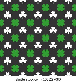 Clover seamless pattern. Saint Patricks Day decoration. Vector illustration.