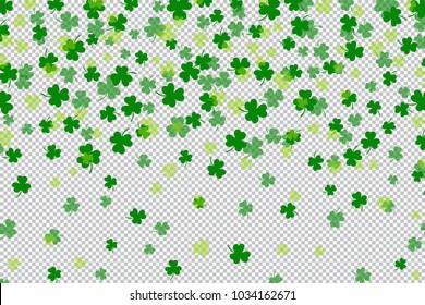 Clover shamrock leaf flat design green backdrop on transparent background pattern vector illustration