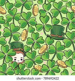 Clover or Shamrock seamless pattern.can you find the Leprechaun.