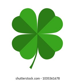 Clover symbol with four petals. Clover sign isolated on white background. Vector illustration